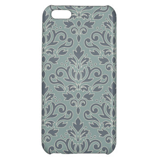 Scroll Damask Lg Ptn (outline) Cream Blues Teal Cover For iPhone 5C