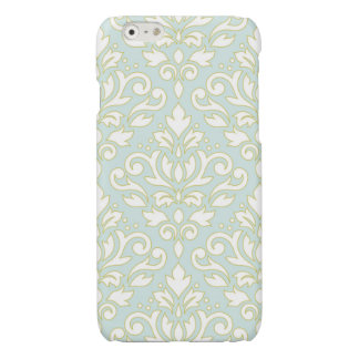 Scroll Damask Lg Ptn (outline) Wt Gld Lt Teal