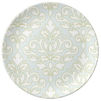 Scroll Damask Lg Ptn (outline) Wt Gld Lt Teal Plate
