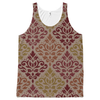 Scroll Damask Lg Ptn Reds Orange Gold Taupe All-Over-Print Tank Top