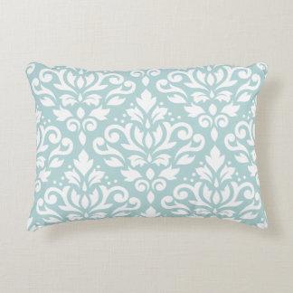 Scroll Damask Lg Ptn White on Duck Egg Blue (B) Accent Pillow