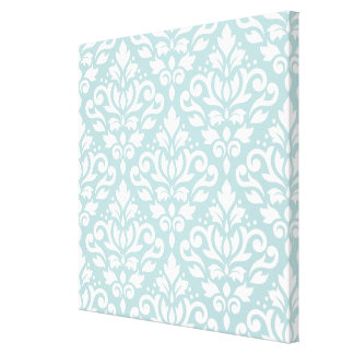 Scroll Damask Lg Ptn White on Duck Egg Blue (B) Canvas Print