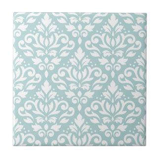 Scroll Damask Lg Ptn White on Duck Egg Blue (B) Ceramic Tiles