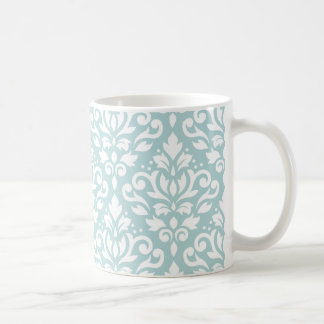 Scroll Damask Lg Ptn White on Duck Egg Blue (B) Coffee Mug