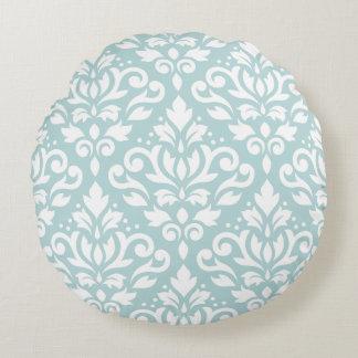 Scroll Damask Lg Ptn White on Duck Egg Blue (B) Round Pillow