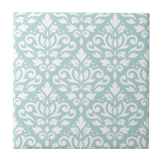 Scroll Damask Lg Ptn White on Duck Egg Blue (B) Tile
