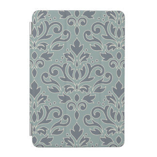 Scroll Damask Lg v Ptn (outline) Crm Blue Teal iPad Mini Cover