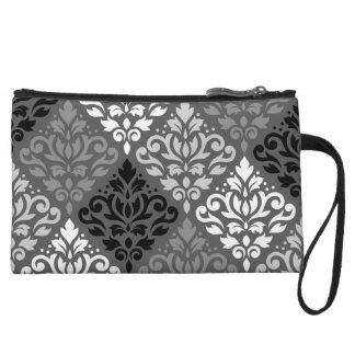 Scroll Damask Off-Set Ptn BW & Greys Wristlet Clutches