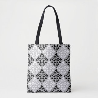 Scroll Damask Pattern B&W on Gray Tote Bag