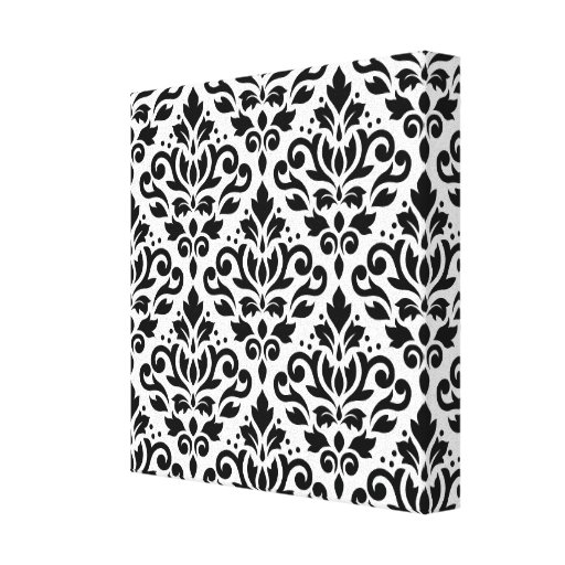 Scroll Damask Pattern Black on White Gallery Wrapped Canvas