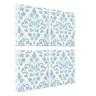 Scroll Damask Pattern Blue on Cream Gallery Wrapped Canvas