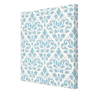 Scroll Damask Pattern Blue on Cream Stretched Canvas Print
