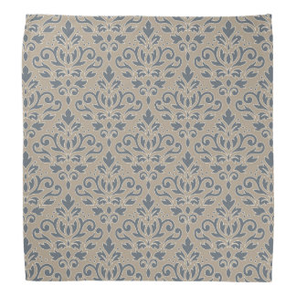 Scroll Damask Pattern Cream Line Blue & Sand Bandana