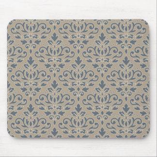 Scroll Damask Pattern Cream Line Blue Sand Mouse Pad