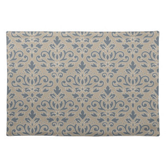 Scroll Damask Pattern Cream Line Blue & Sand Placemat