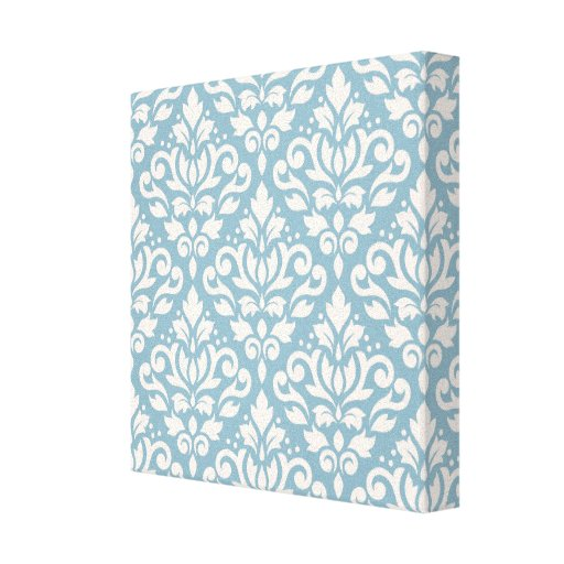 Scroll Damask Pattern Cream on Blue Stretched Canvas Prints
