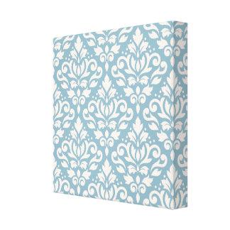 Scroll Damask Pattern Cream on Blue Canvas Prints