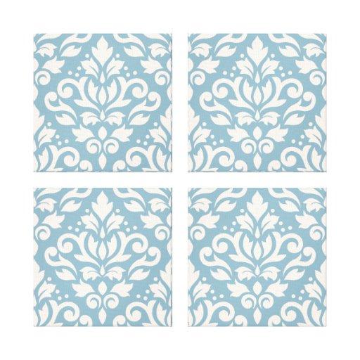 Scroll Damask Pattern Cream on Blue Gallery Wrap Canvas