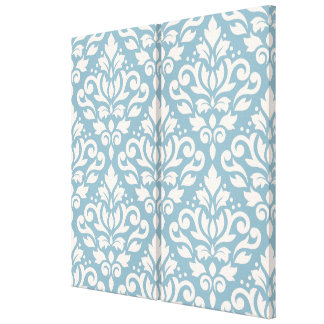 Scroll Damask Pattern Cream on Blue Gallery Wrapped Canvas