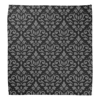 Scroll Damask Pattern Grey on Black Bandannas