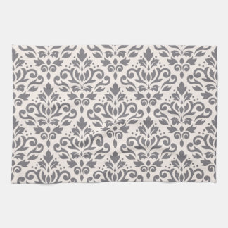 Scroll Damask Pattern Grey on Cream Kitchen Towel