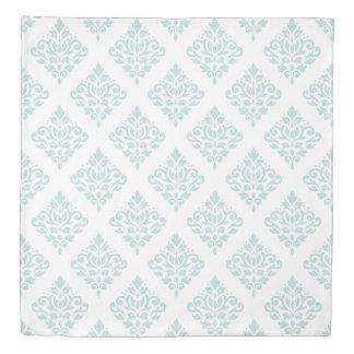 Scroll Damask Pattern II Duck Egg Blue on White Duvet Cover