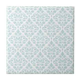Scroll Damask Pattern Lt Duck Egg Blue on White Tile