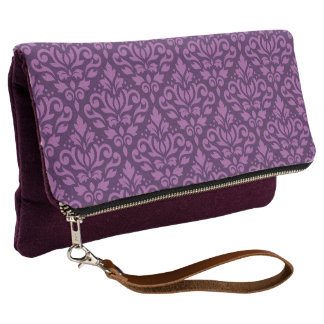 Scroll Damask Pattern Lt on Dk Plum Clutch