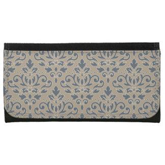 Scroll Damask Pattern (outline) Cream Blue Sand Wallet