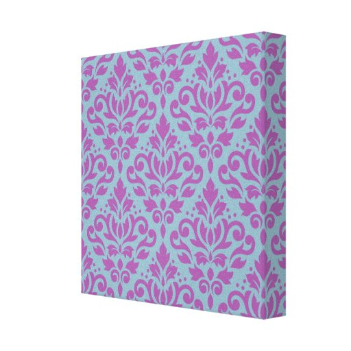 Scroll Damask Pattern Plum on Blue Gallery Wrapped Canvas