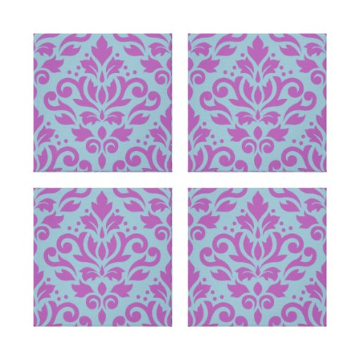 Scroll Damask Pattern Plum on Blue Gallery Wrap Canvas