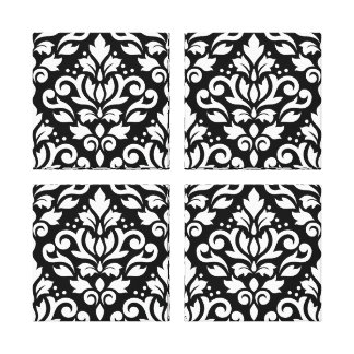 Scroll Damask Pattern White on Black Gallery Wrapped Canvas