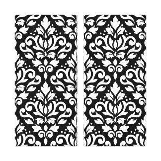 Scroll Damask Pattern White on Black Canvas Prints