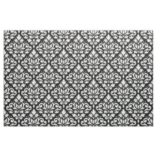 Scroll Damask Pattern White on Black Fabric