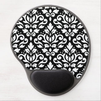 Scroll Damask Pattern White on Black Gel Mouse Pad