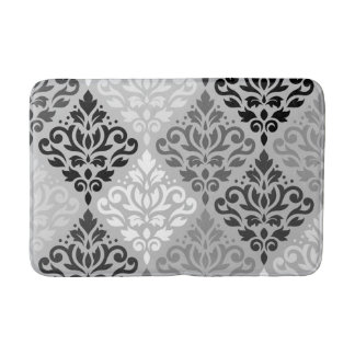 Scroll Damask Ptn Art BW & Grays Bath Mat