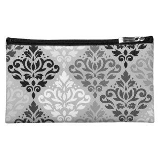 Scroll Damask Ptn Art BW & Grays Cosmetics Bags