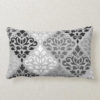 Scroll Damask Ptn Art BW & Grays Lumbar Pillow