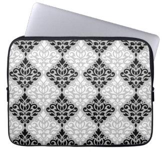 Scroll Damask Ptn B&W on Gray Laptop Sleeve