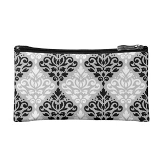 Scroll Damask Ptn B&W on Gray Makeup Bags