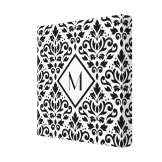 Scroll Damask Ptn Black on White (Personalized) Canvas Print