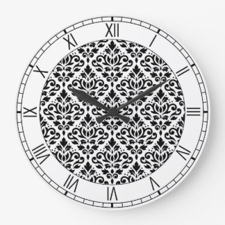 Scroll Damask Ptn BW & Numerals Large Clock