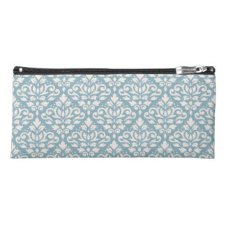 Scroll Damask Ptn Cream on Light Blue Pencil Case
