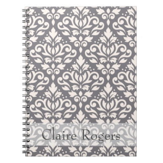 Scroll Damask Ptn Crm on Gray (Personalized) Notebooks