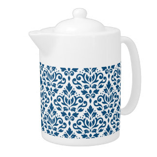 Scroll Damask Ptn Dk Blue on White