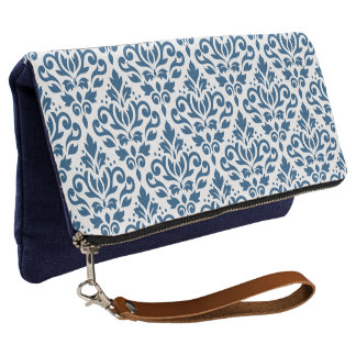 Scroll Damask Ptn Dk Blue on White Clutch
