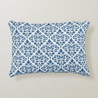Scroll Damask Ptn Dk Blue on White Decorative Pillow