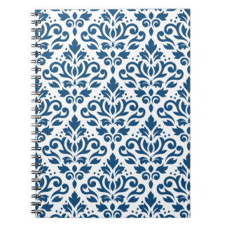Scroll Damask Ptn Dk Blue on White Notebook