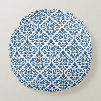Scroll Damask Ptn Dk Blue on White Round Pillow