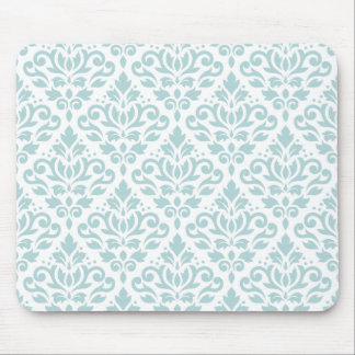 Scroll Damask Ptn Duck Egg Blue (B) on White Mouse Pad